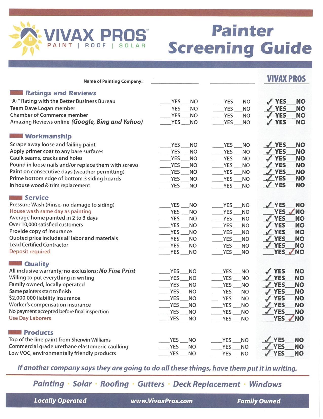 Painter Screening Guide