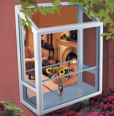 Exterior view of garden window looking into livingroom