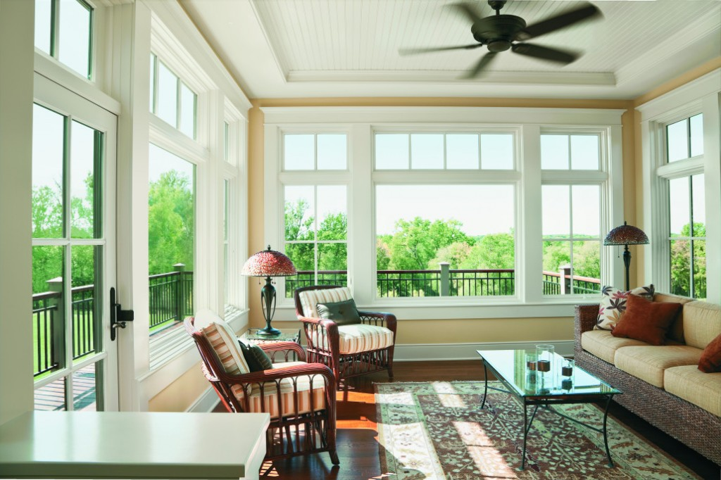 Cleaning Sun Room with New White Windows