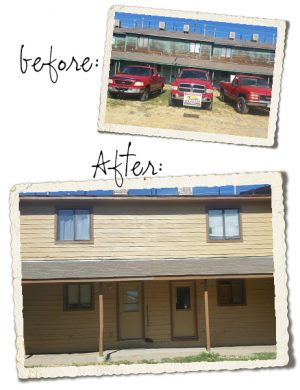 Before and After pictures of tan apartment complex