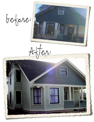 Before and After pictures of grey house