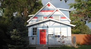 Red White and Blue painted house