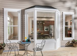 Exterior view of bay window looking into kitchen