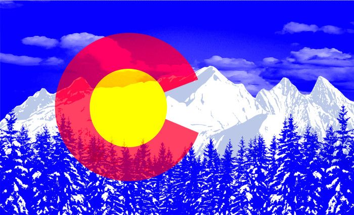 Colorado Flag with Mountains Overlayed