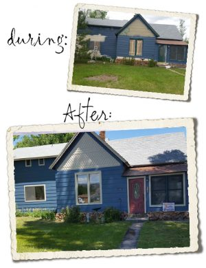 Before and After pictures of blue house