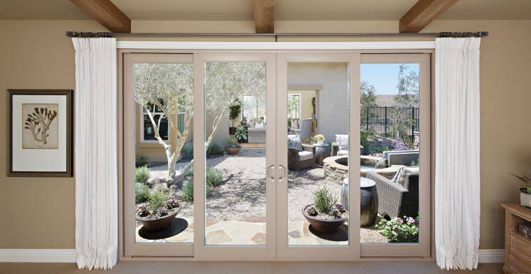 Large sliding door looking out to patio