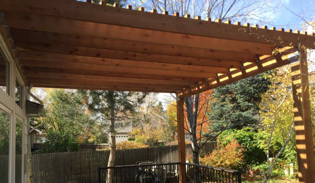 Custom brown pergola cover a deck attached to house. - Pergolas And Deck Covers - Deck - Vivax Pros
