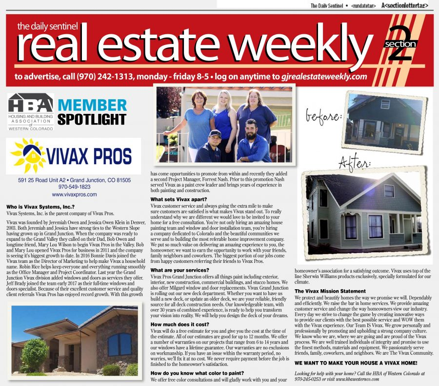 Real Estate Weekly Article Featuring Vivax Pros