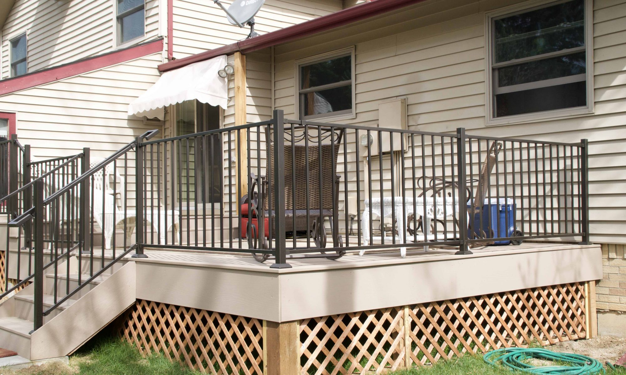 Back Patio With Metal Rails