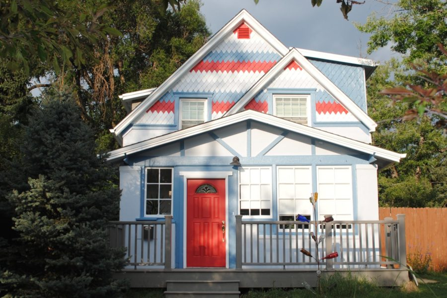 Red, white and blue painted house