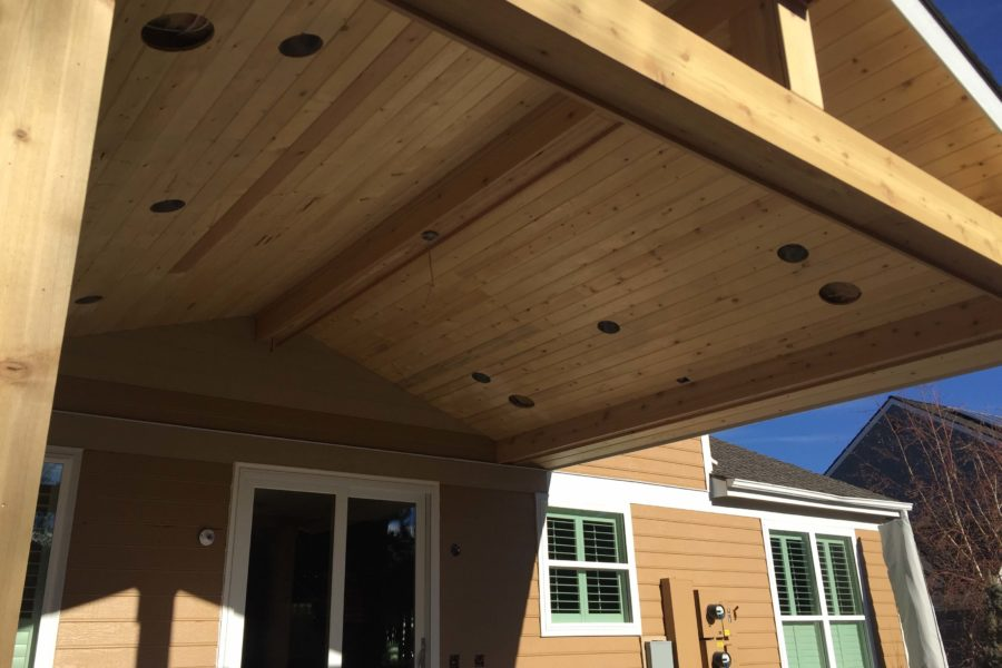 Custom patio roof with lighting