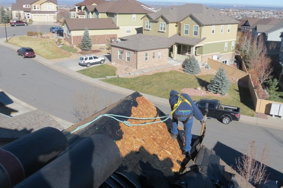 Roofer stripping shingles from roof in neighborhood